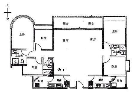 金碧花园 五房一厅 欧式装修 家私电器齐全